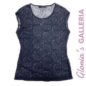 THE LIMITED sheer navy blue rosette lace tank sz L